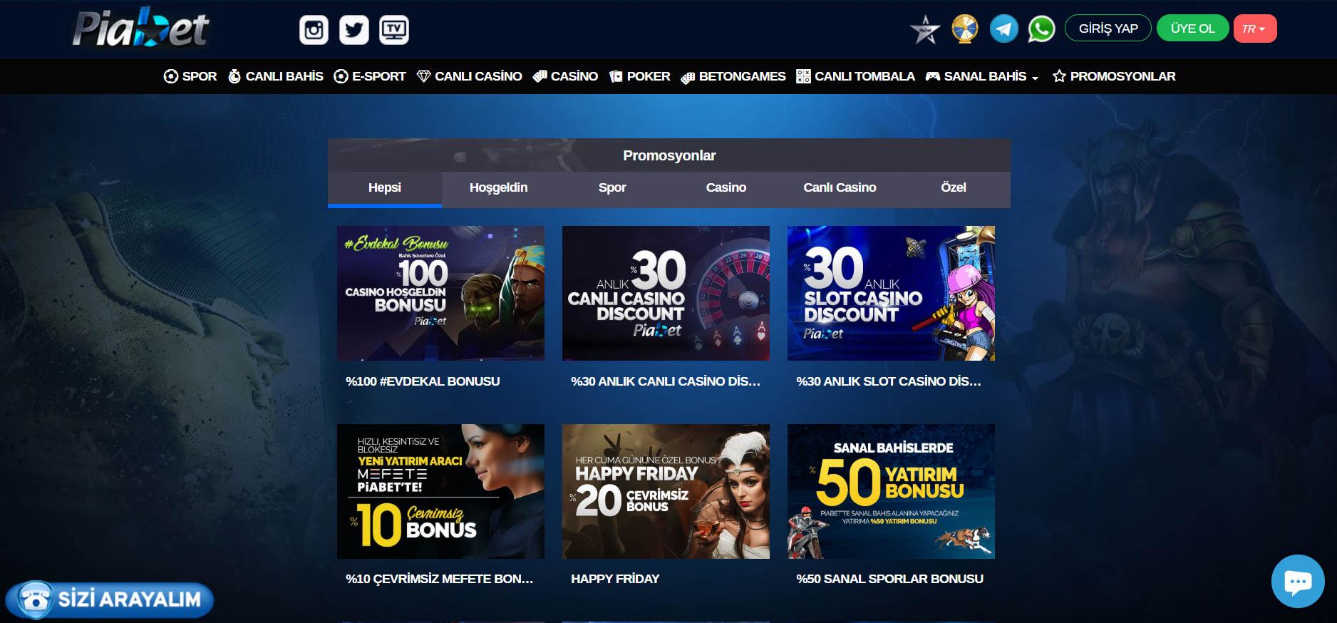 Piabet Canli Casino Sitesi